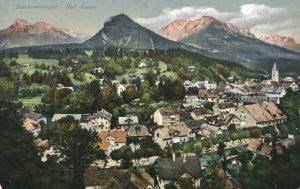 Die Ansichten, hier eine von Bad Aussee aus dem Jahr 1912, können auch heruntergeladen werden. ©Akon/Österreichische Nationalbibliothek