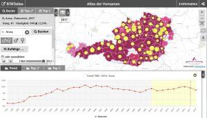 """Der """"Atlas der Vornamen"""" zeigt Häufigkeit und Rang des gesuchten Namens nach Bezirk und Jahrgang in einer interaktiven Karte. (Bildquelle: statistik.at)"""