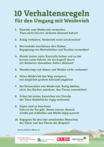 Die zehn Verhaltensregeln für die Alm sollen unschöne Begegnungen zwischen Mensch und Weidetier vorbeugen. (Bildquelle: sichere-almen.at)