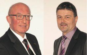 Sistranser Bürgermeister Josef Kofler (links) startete gemeinsam mit dem Aldranser Bürgermeister Johannes Strobl das Unternehmergebiet. (Bild: ZVG)