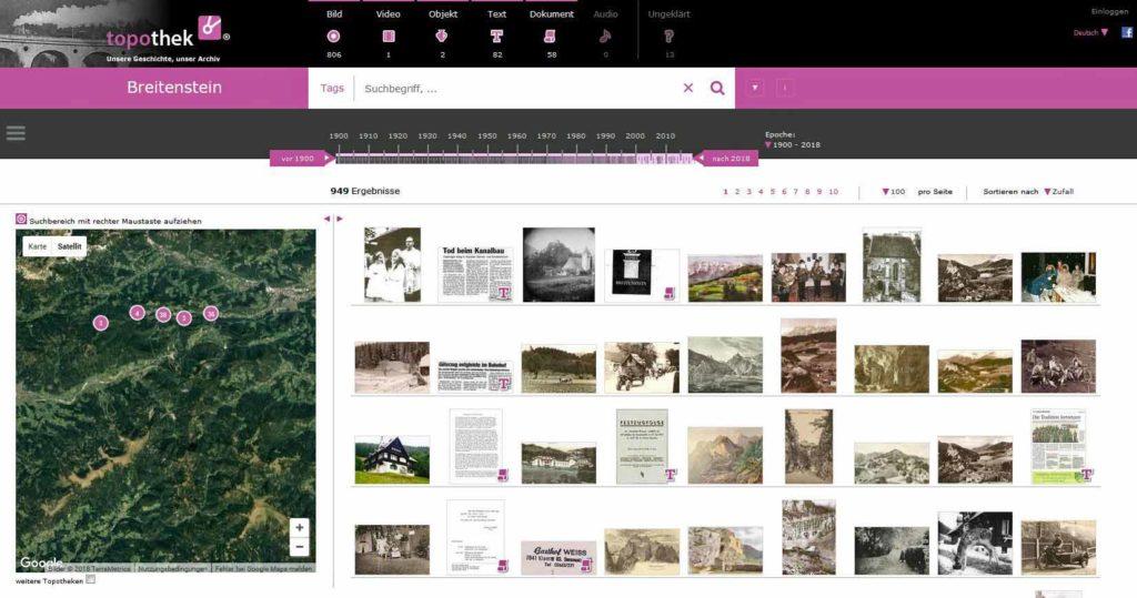 Die Plattform Topothek bietet die Möglichkeit, die Ortsgeschichte aufleben zu lassen. (Bildquelle: www.topothek.at)